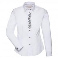 Myslivecká dámská košile Luko s výšivkou dubový list,bílá-dlouhý rukáv